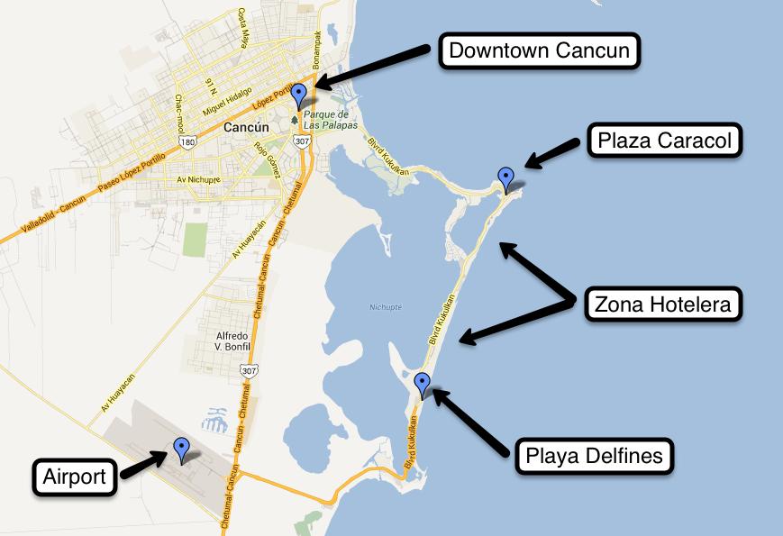 Mapa das melhores regiões para se hospedar em Cancún