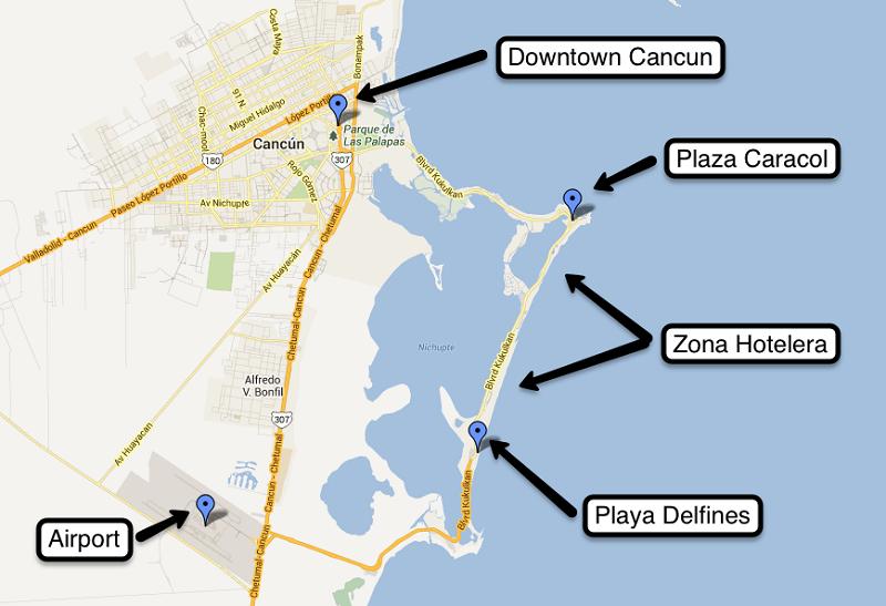 Mapa explicativo de las regiones de Cancún
