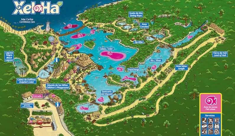 Mapa do Parque Xel-Há em Cancún