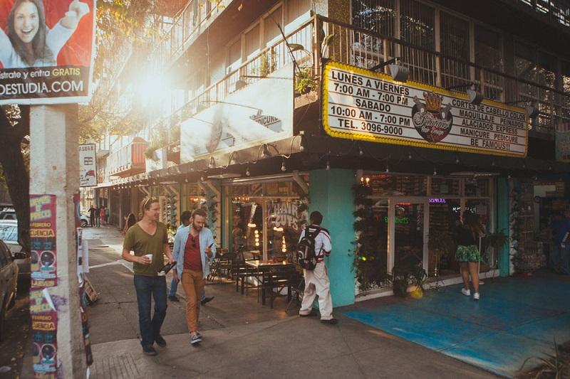 Night na região La Condesa na Cidade do México