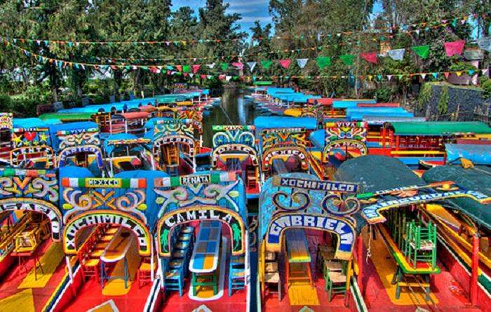 Ponto turístico Xochimilco na Cidade do México