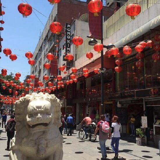 Infraestrutura do Barrio Chino Chinatown na Cidade do México