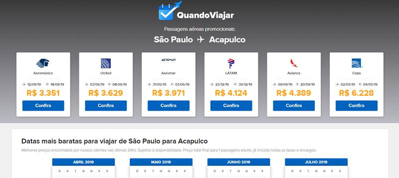 Ferramenta para achar passagens em promoção para Acapulco