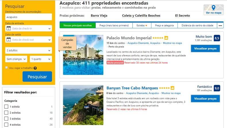 Pesquisador de hotéis em Acapulco