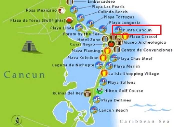 Mapa de la playa de Punta Cancún en Cancún