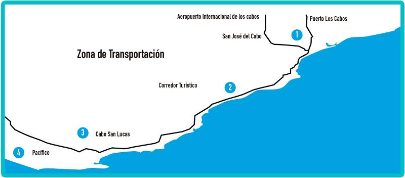 Mapa del corredor turístico de Los Cabos