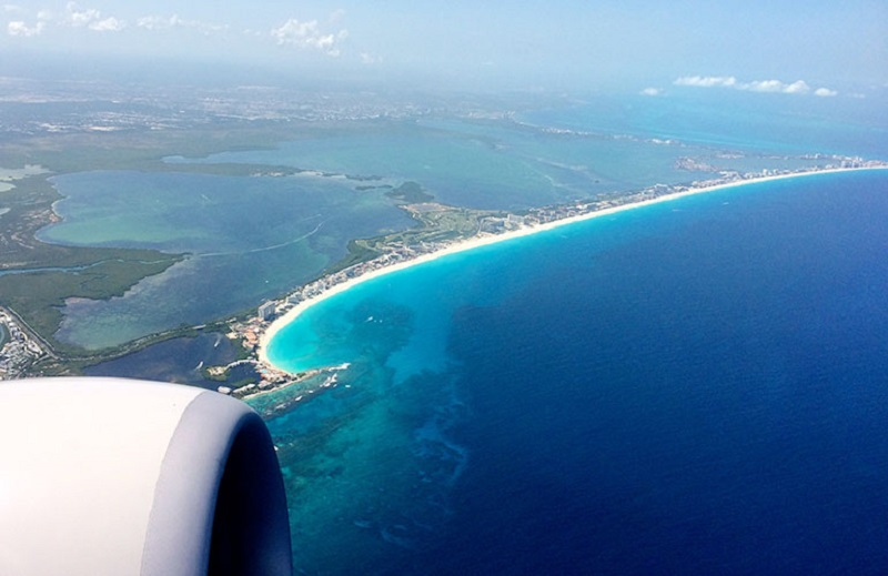 Vista do avião de parte do México
