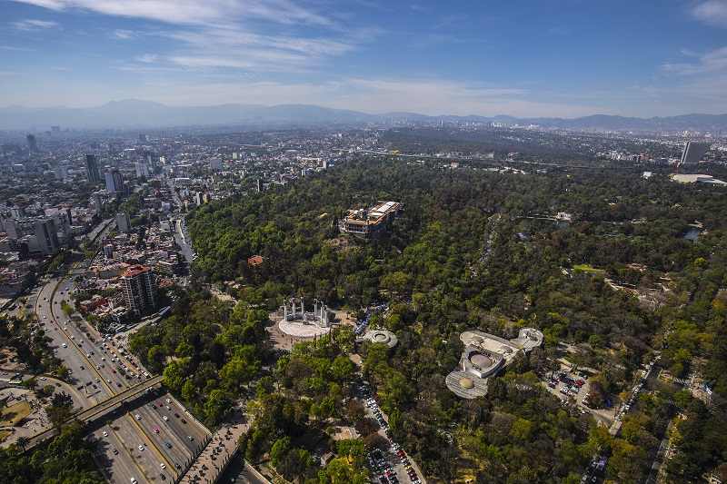 Bosque de Chapultepec en la Avenida Paseo de la Reforma